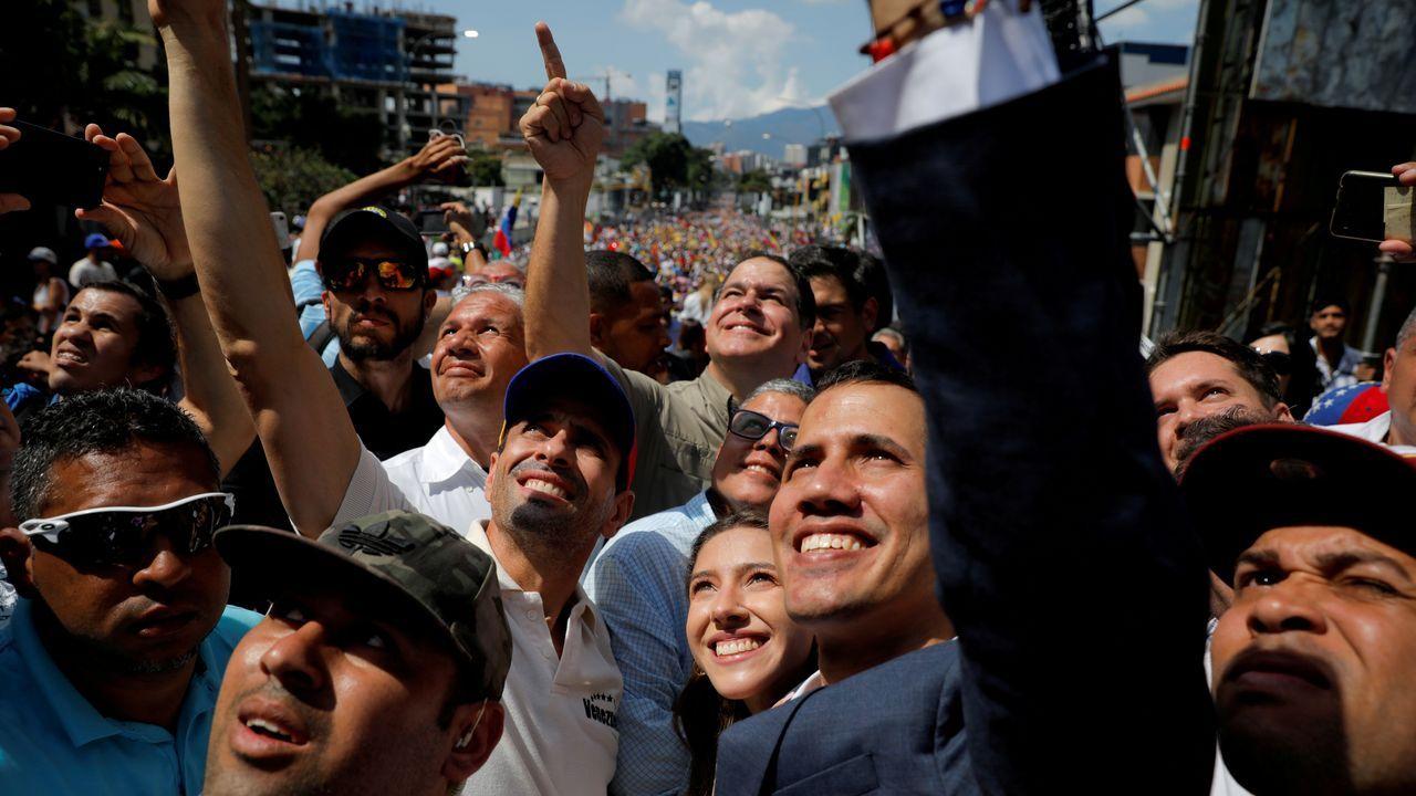 Capriles y Guaidó, en una manifestación contra Maduro en febrero del 2019