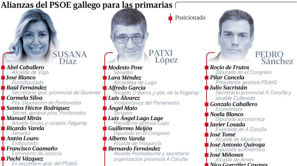 Alianzas del PSOE gallego para las primarias