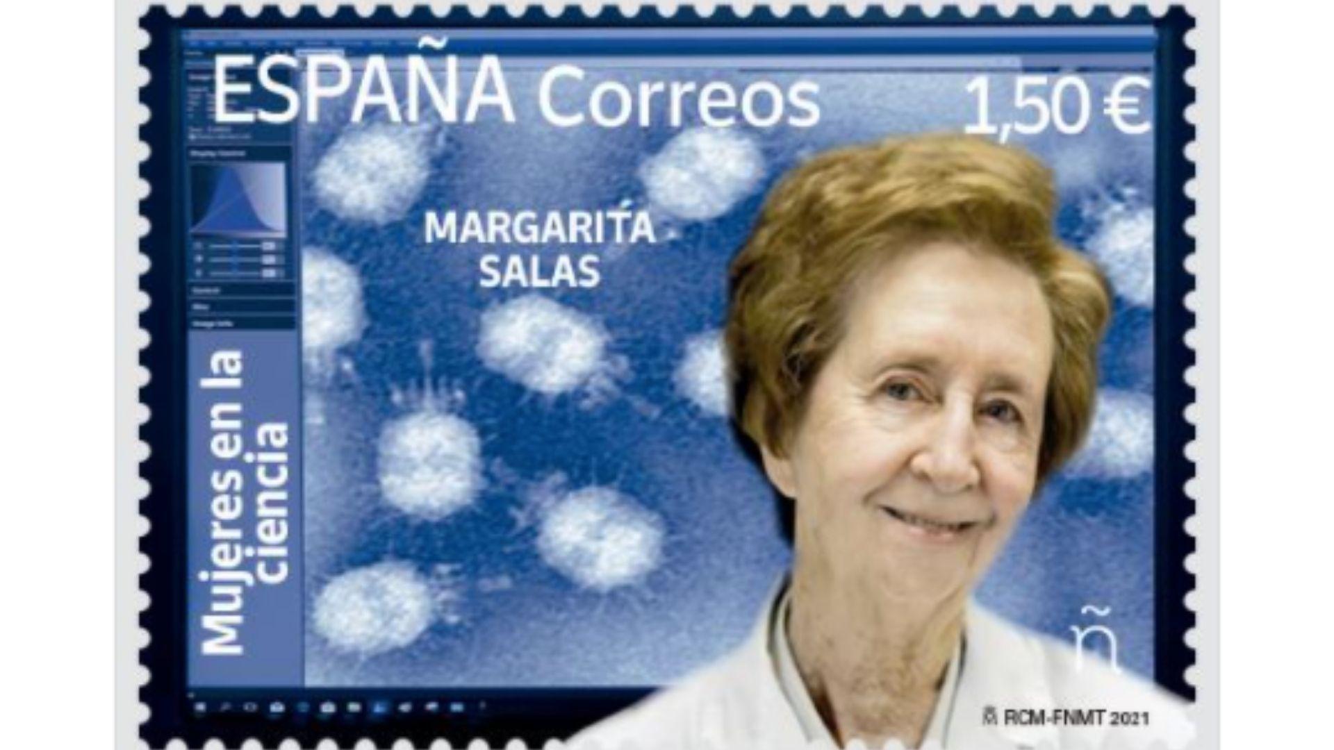 sello Margarita Salas.Dosi Veiga cun exemplar do calendario «Ceos Galegos»