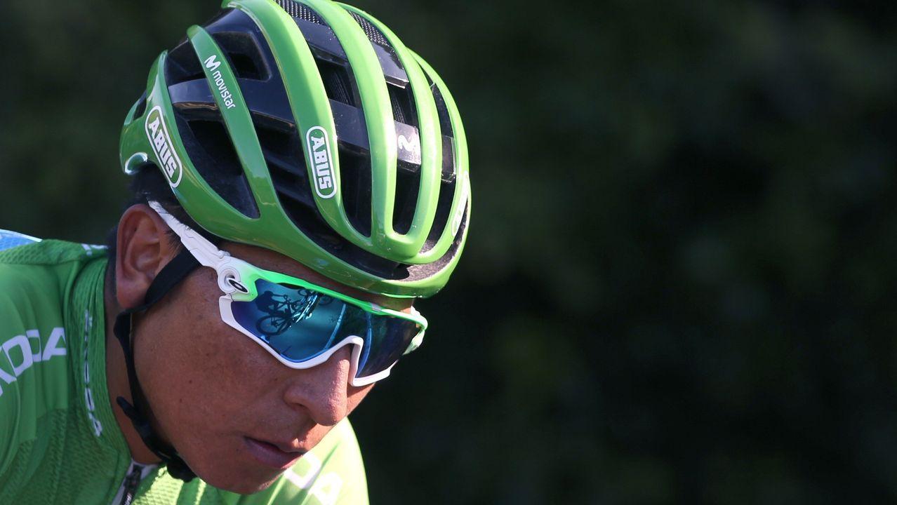 El ciclista colombiano del equipo Movistar, Nairo Quintana, en el pelotón ciclista durante la decimocuarta etapa de la 74th Vuelta a España 2019, con salida en la localidad cántabra de San Vicente de la Barquera y meta en Oviedo