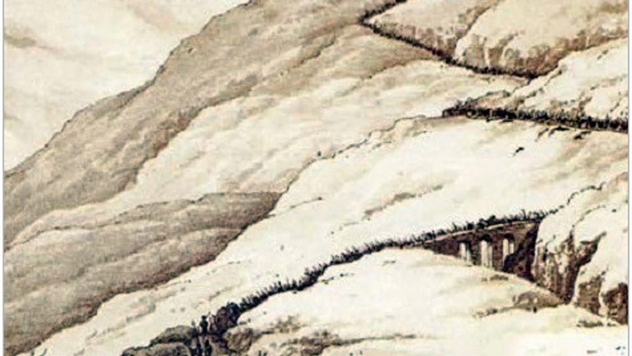 Lámina del siglo XIX que representa la retirada del ejército inglés durante la Guerra de la Independencia