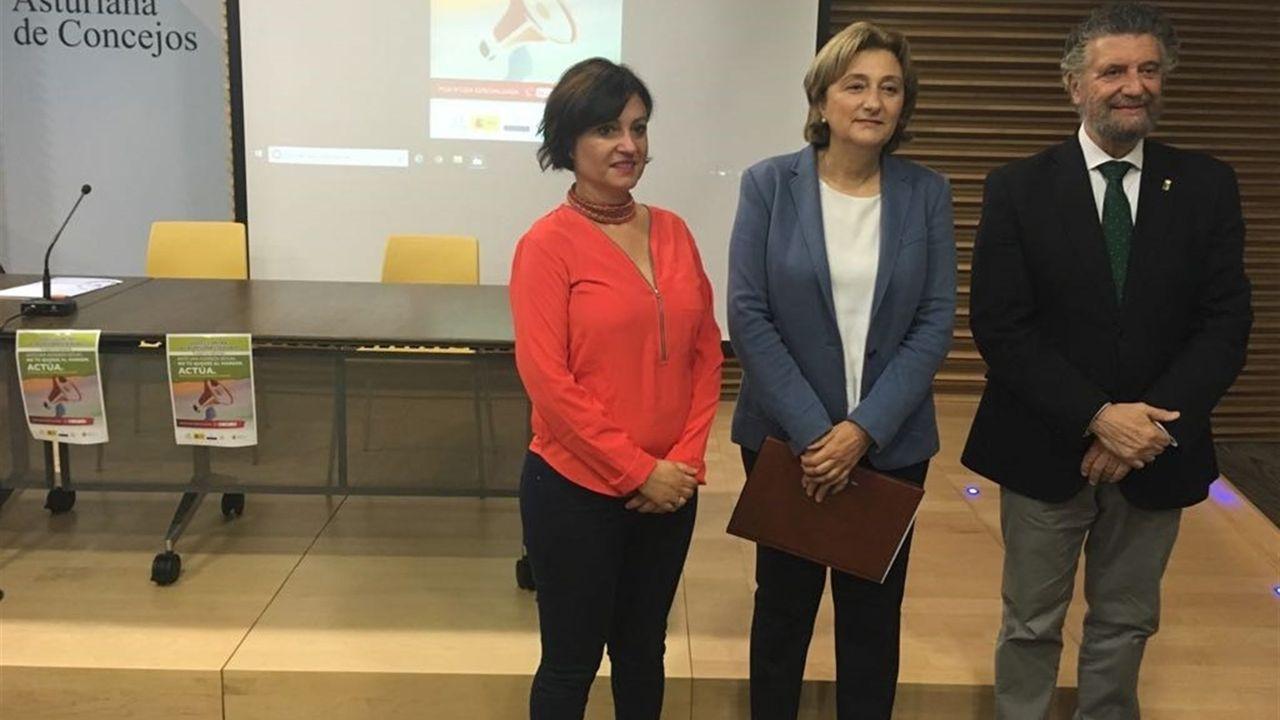 La directora del Instituto Asturiano de la Mujer, Almudena Cueto; la delegada del Gobierno en Asturias, Delia Losa; y el presidente de la Federación Asturiana de Concejos (FACC), Ignacio García Palacios