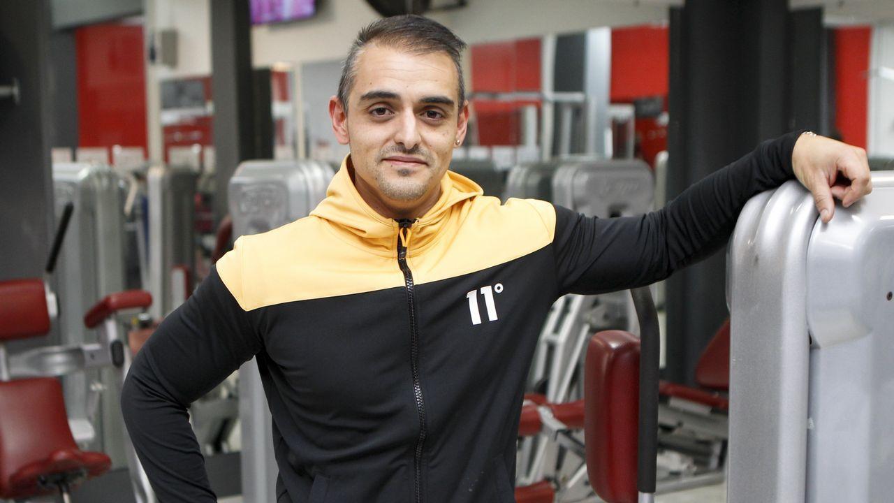 Esteban Carro, en el Gimnasio Utopía Fitness Club de Narón