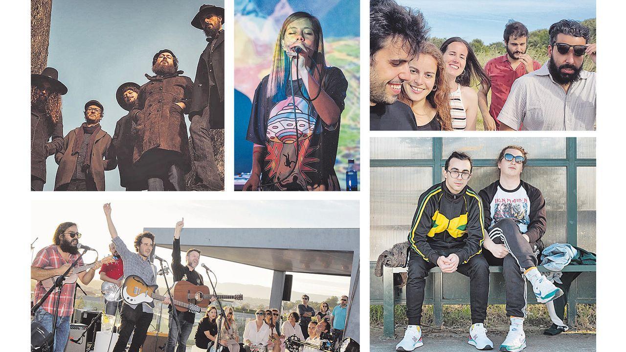 OS ROSTROS DA NOVA MÚSICA GALEGA. De esquerda a dereita e de arriba a abaixo: Moura, Laura LaMontagne, Néboa, Os Amigos dos Músicos e Boynaka Kostova