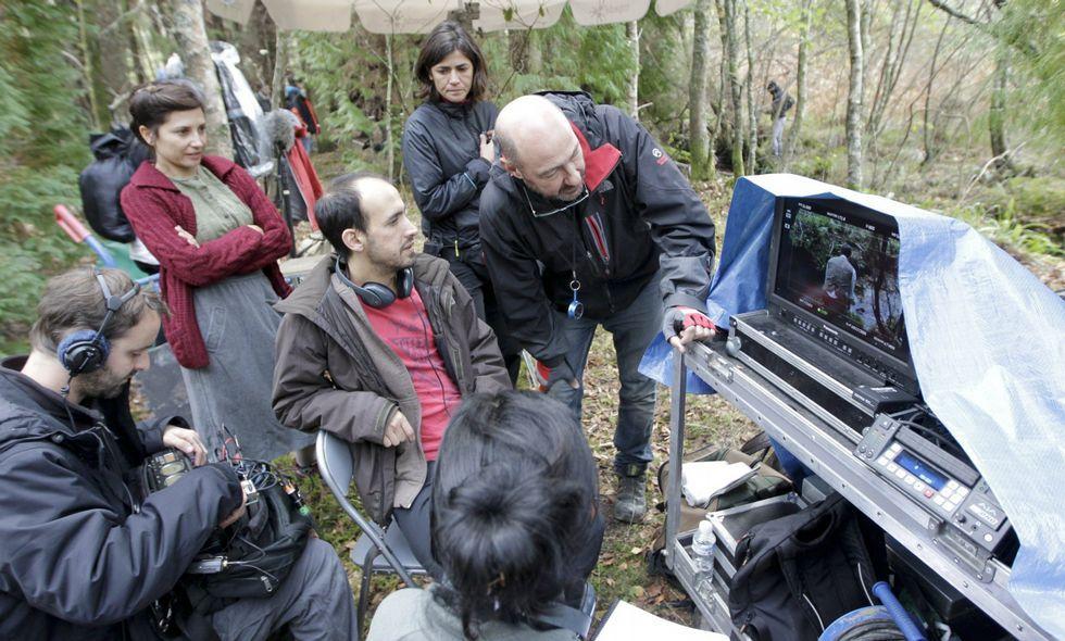 En la imagen, un momento del rodaje de «Lobos sucios» en octubre del año pasado.