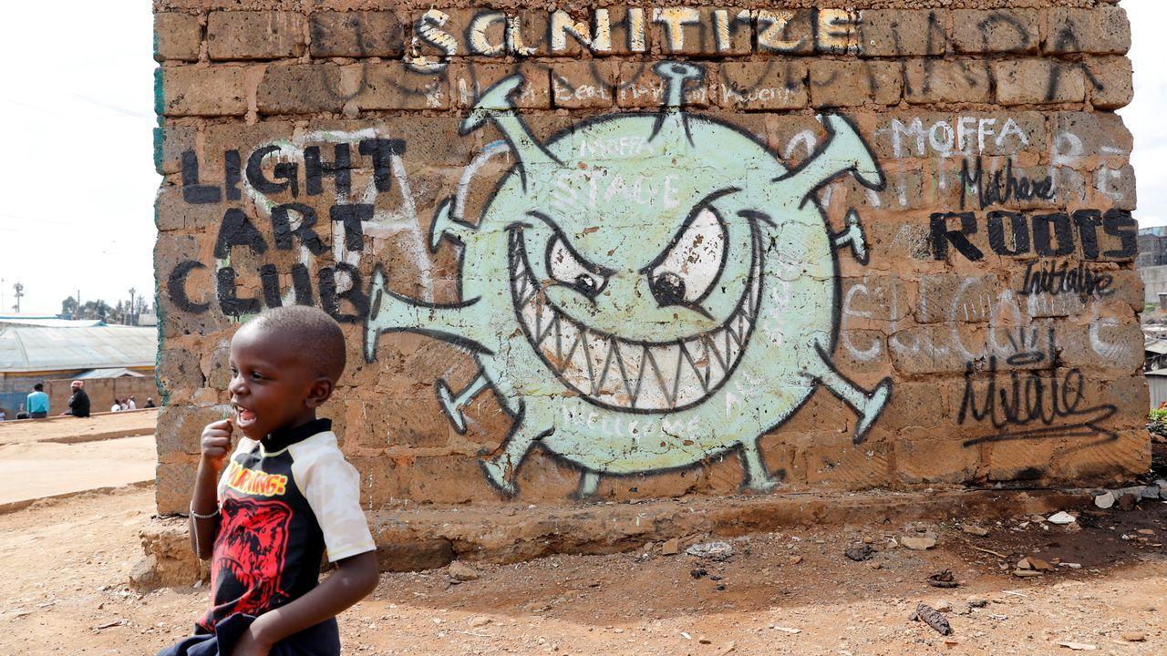 Los grafitis se han convertido en una forma de alertar sobre la peligrosidad del covid-19 en Nairobi