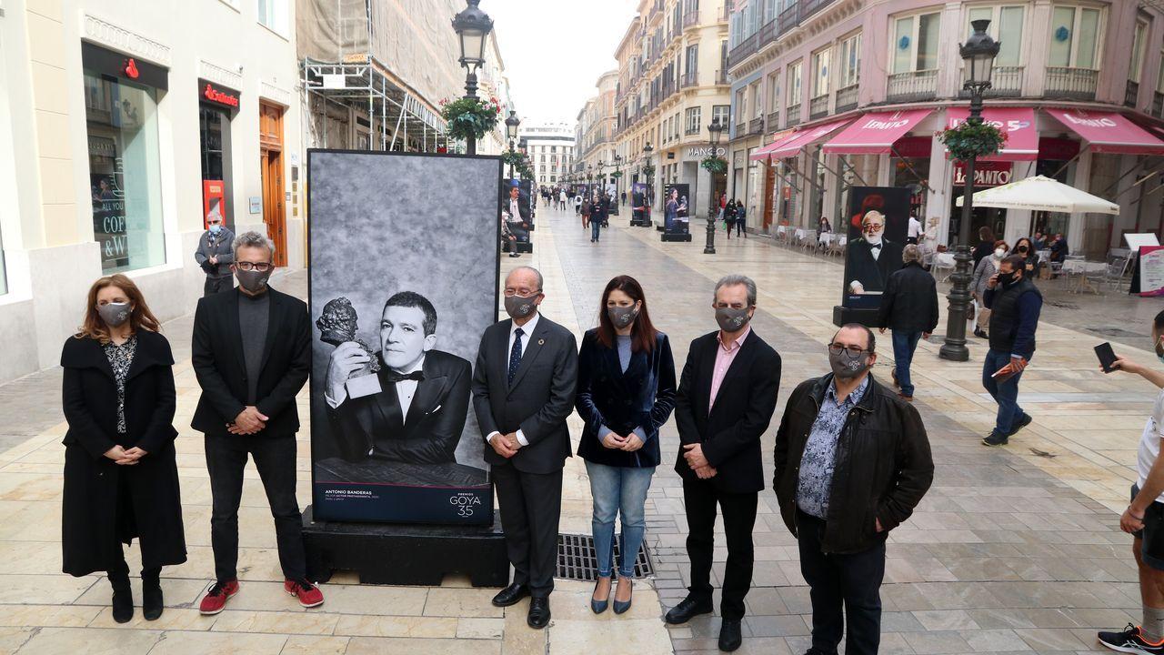 La alfombra roja de los Premios Goya.Inauguración de la exposición al aire libre de fotografías con motivo de la celebración en Málaga de la gala de los premios Goya, con la presencia del director de la Academia de Cine, Mariano Barroso (segundo por la izquierda)