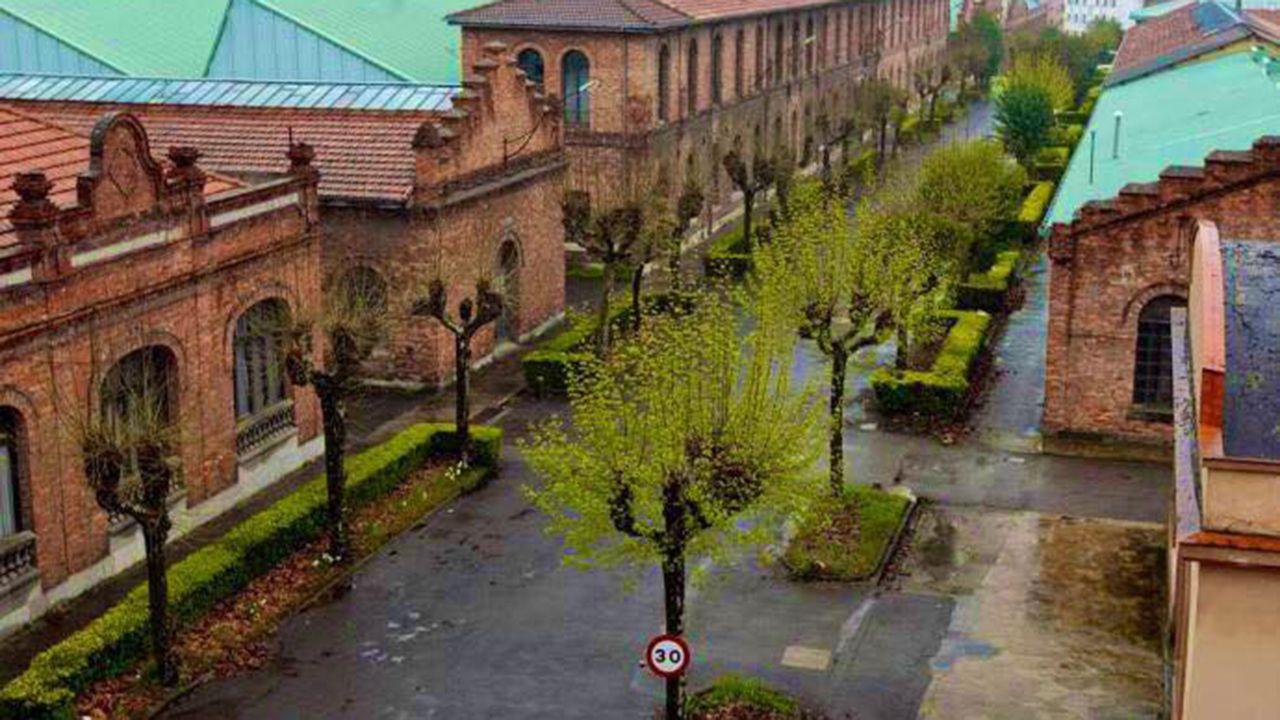 Unos turistas consultan un plano de Oviedo en la calle Uría.Fábrica de Armas de La Vega, Oviedo