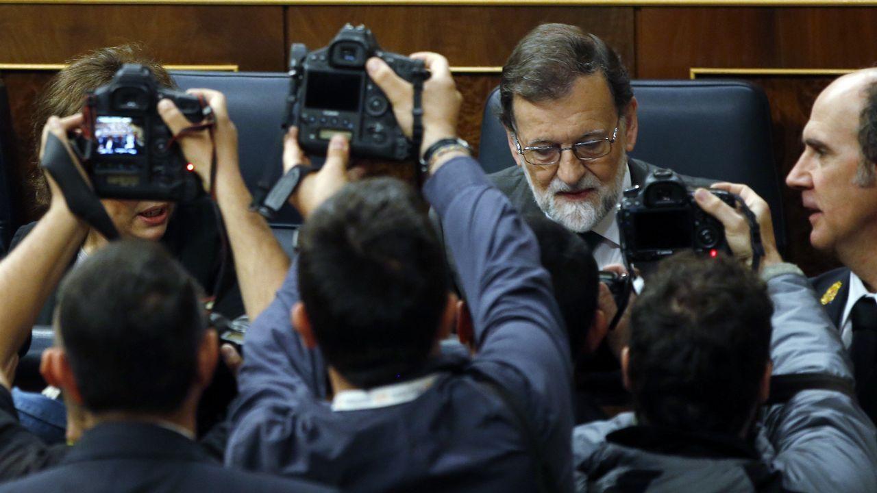 Mariano Rajoy, a su llegada al hemiciclo esta mañana