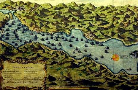 Grabado de James Benfire que recrea la batalla de Rande, el 23 de octubre de 1702.