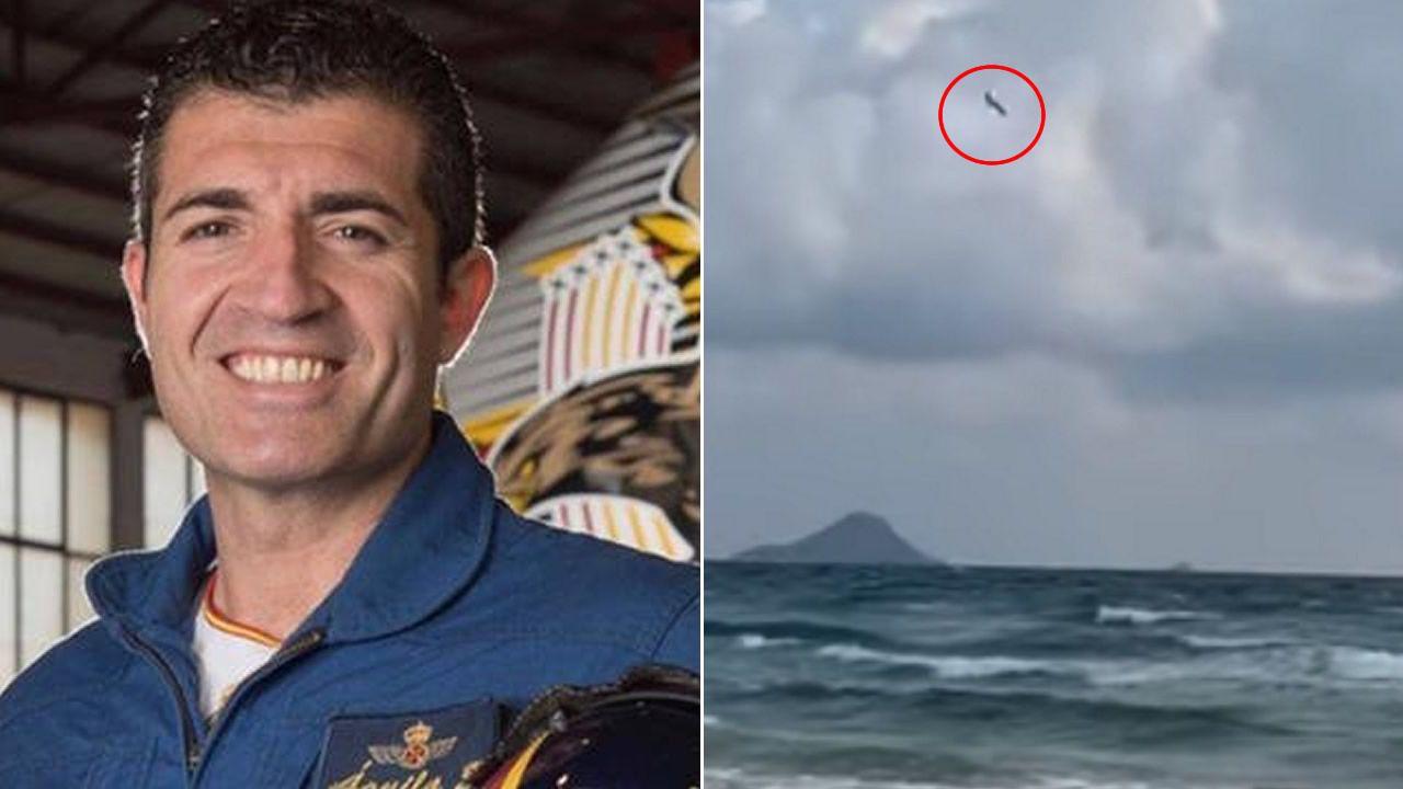 Un avión de entrenamiento del Ejército del Aire se estrella en La Manga del mar Menor.Wenceslao López
