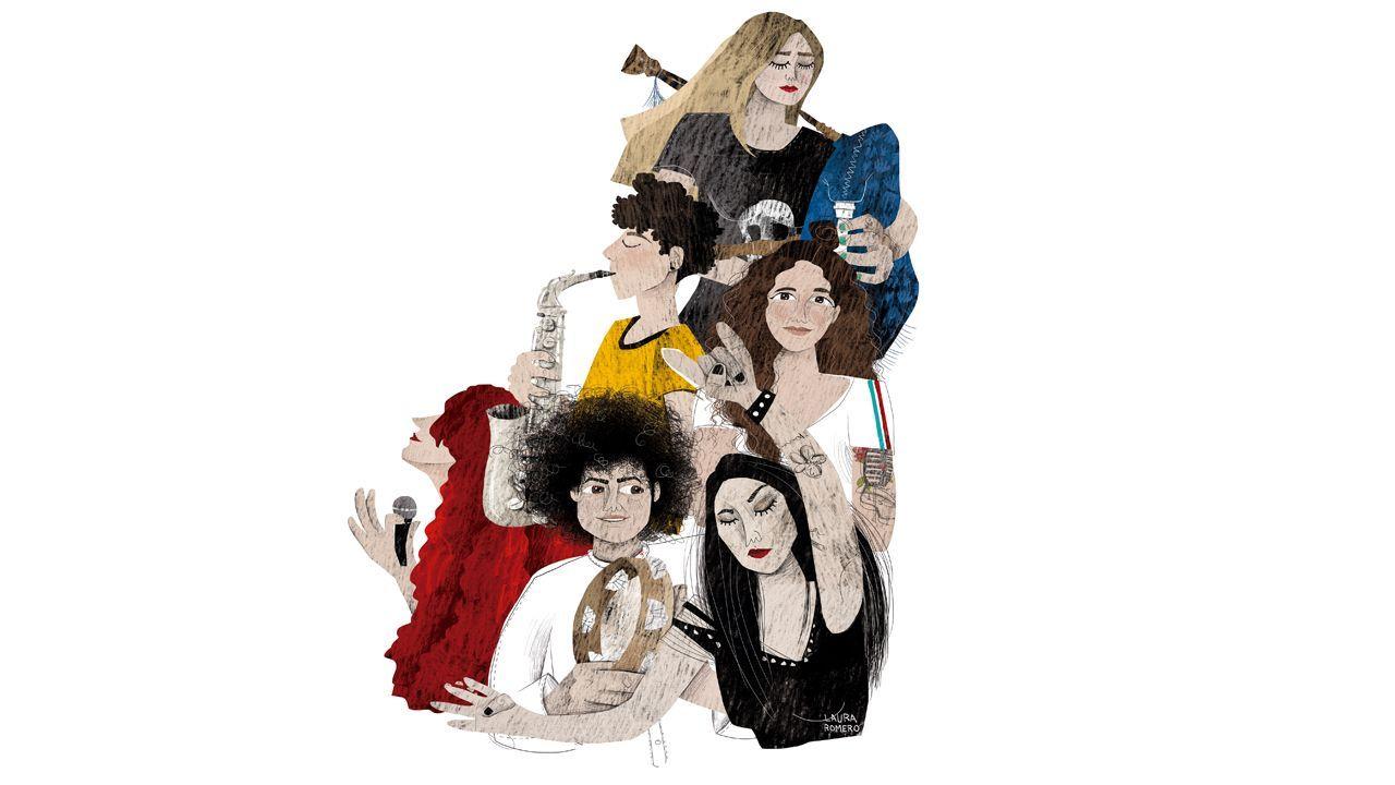 De arriba a abaixo e de esquerda a dereita: Masha (Os Residuos Atractivas), Montse (Enxeito), High Paw, Tania (The Mirror), Patricia (Acordeireta) e Mimi Telmo (We Ride)