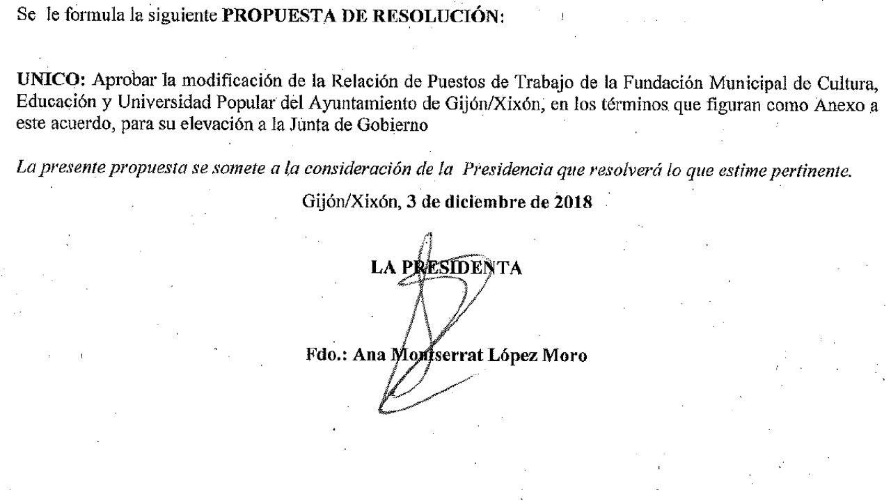 Firma de la concejala de Educación y Cultura en la propuesta de Relación de Puestos de Trabajo de la FMCEyUP