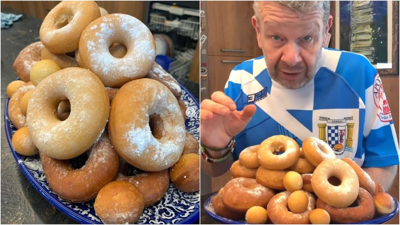 chicote.Donuts caseros con toque ferrolano. Chicote viste la camiseta del club Rugby Ferrol