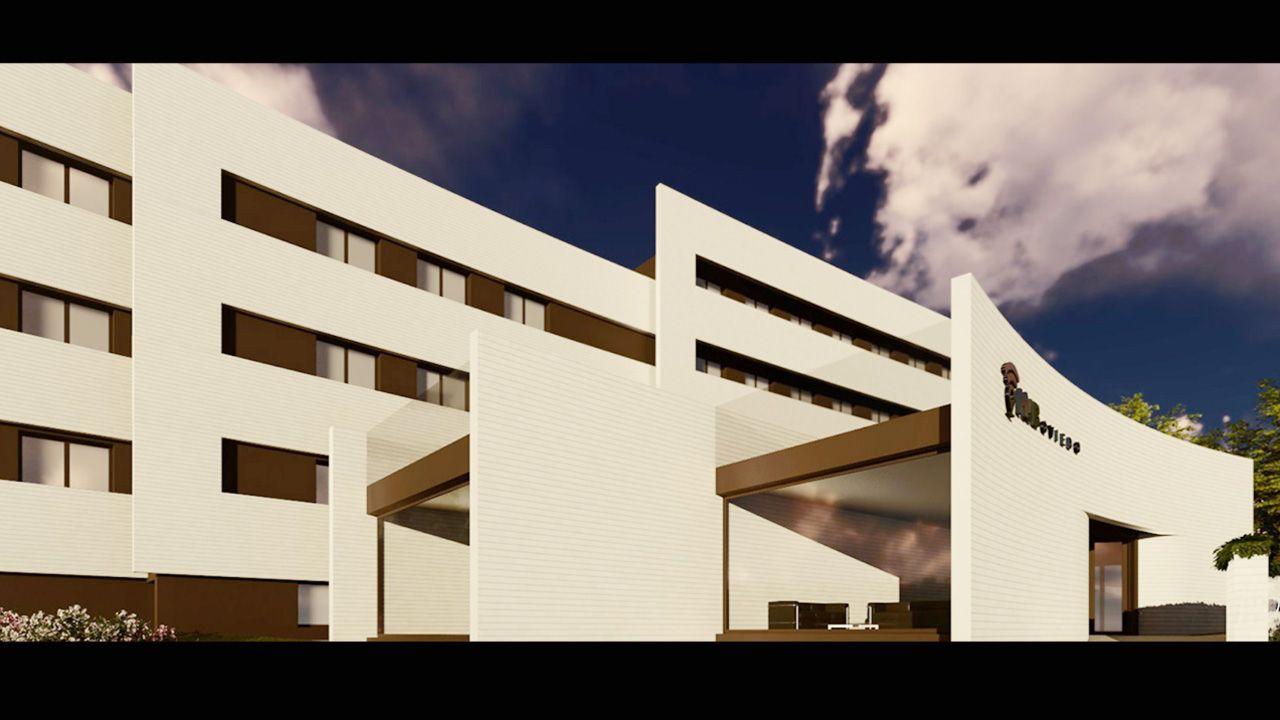 Laboratorio de la Universidad de Oviedo.Imagen virtual de la fachada de la nueva residencia de estudiantes de Montecerrao, que ya está en obras