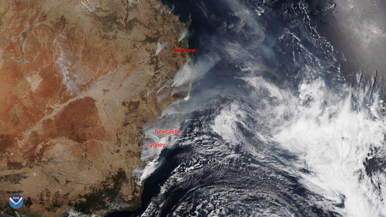 Incendios en Australia captados por los satélite de la NOAA (Administración Nacional Oceánica y Atmosférica de Estados Unidos)
