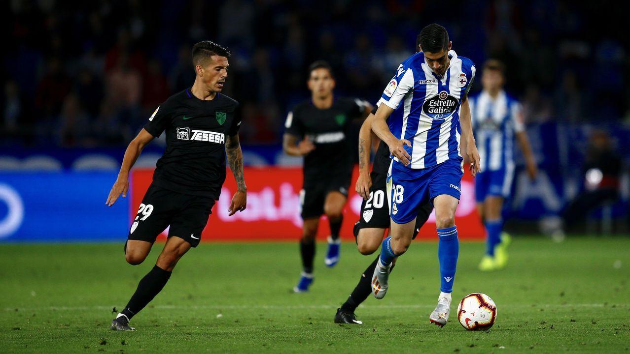 Christian Fernandez Renato Santos Malaga Real Oviedo La Rosaleda.El Deportivo y el Málaga se enfrentaron por última vez en la promoción de la pasada temporada