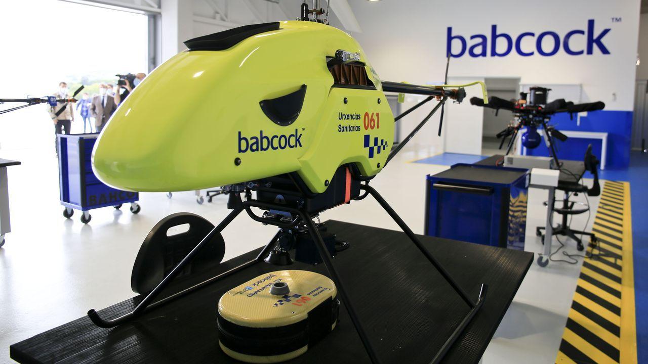 El dron expuesto en Rozas se llama «Lúa», fabricado por la empresa Babcock para el 061