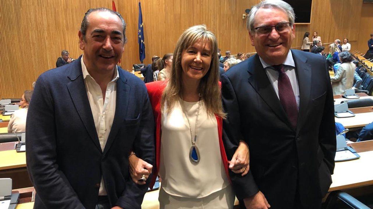 La diputada asturiana del PP, Paloma Gázquez, con los senadores Ramón García Cañal y Fernando Goñi Merino