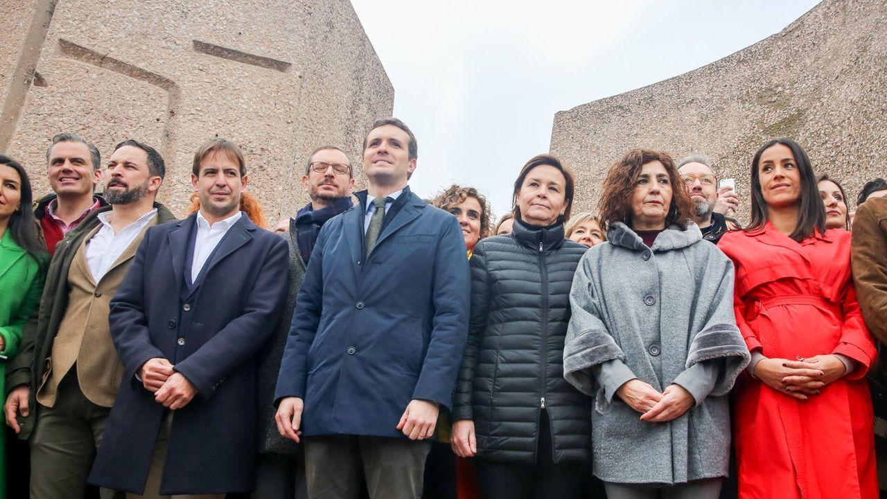 Concentración del PP, Cs y Vox en la plaza madrileña de Colón en el 2019, bajo el lema «Por una España unida»