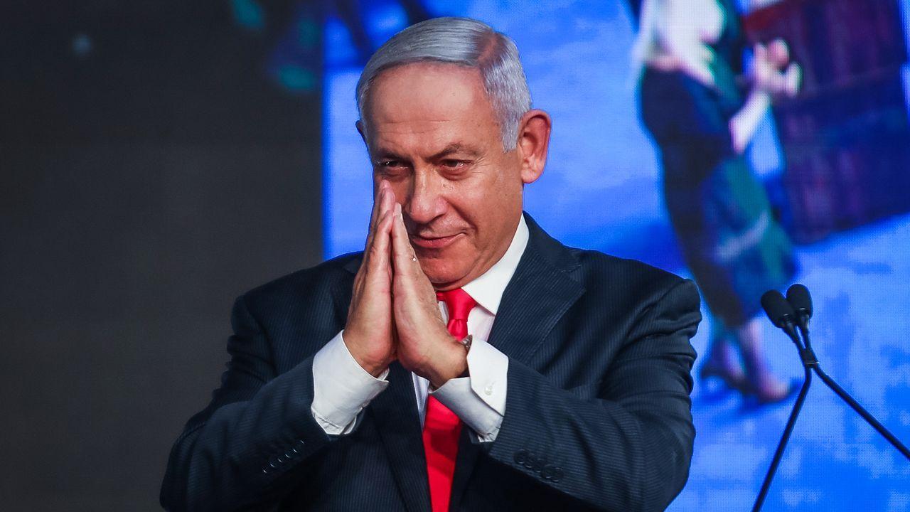 Yair Lapid, líder opositor centrista, durante la noche electoral
