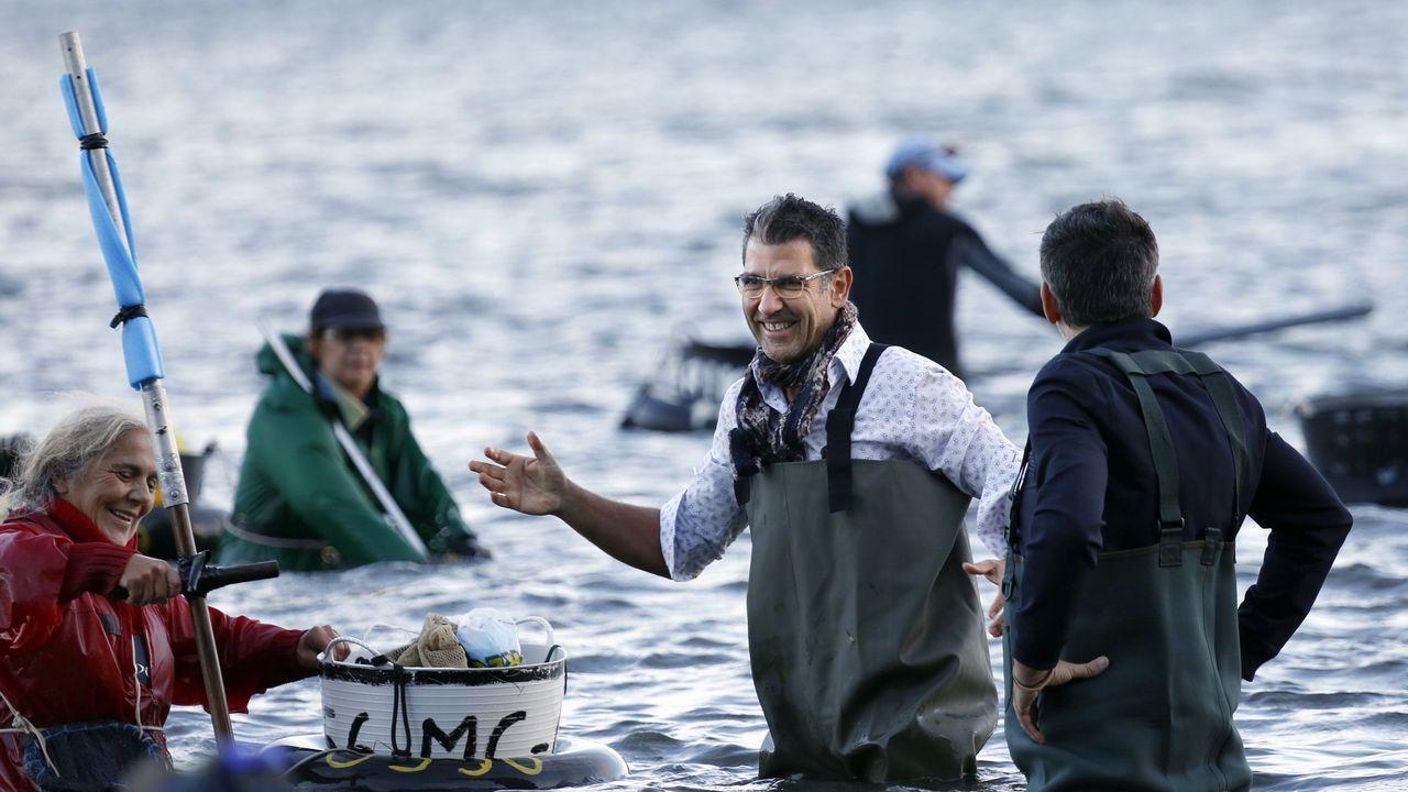 El afamado cocinero Paco Roncero visitó hace unos días a las mariscadoras de Noia durante las Jornadas dedicadas al berberecho en esta localidad