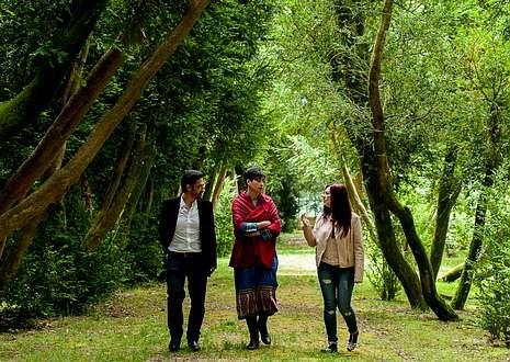 Os escritores premiados no certame da editora Xerais Eduardo Santiago, María Reimóndez y Ledicia Costas, onte conversando no paseo dos Buxos, na illa de San Simón, na ría de Vigo.