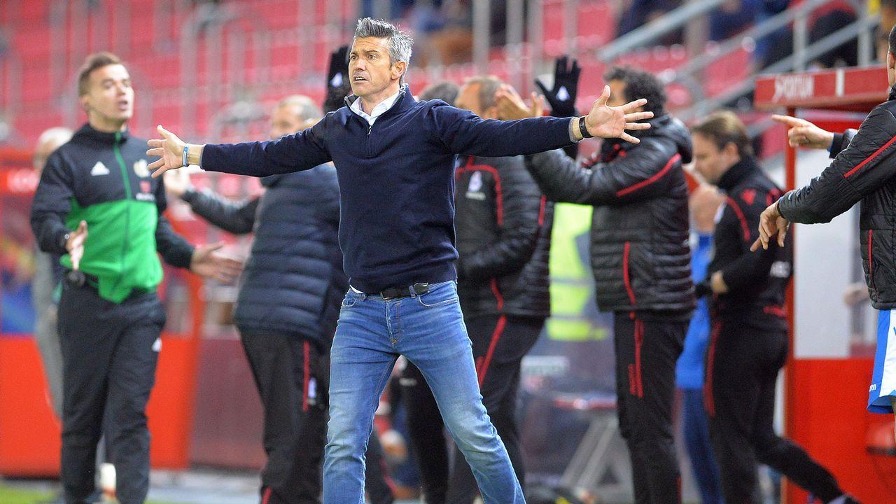 El Zaragoza-Deportivo en imágenes.Deportivo y Mallorca se saludan antes de comenzar el encuentro