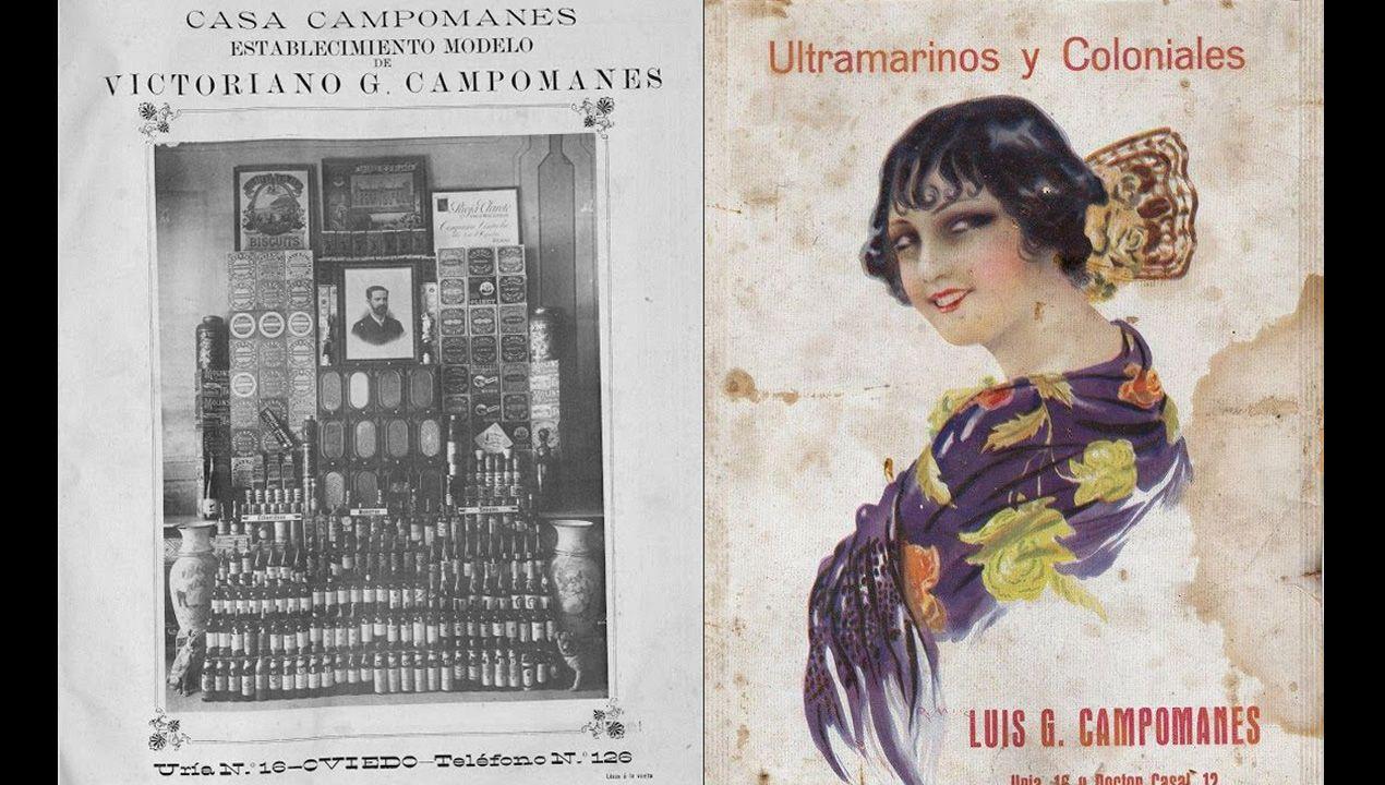 Carteles de anuncio del negocio del próspero Victoriano G. Campomanes, que fue quien encargó la construcción de Villa Magdalena y a la que llamo Villa Julia en honor a su joven esposa