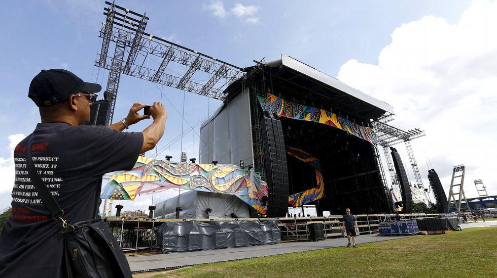 El escenario donde actuarán los Stones en Cuba