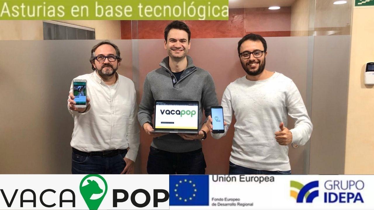 Fernando Milla, David Rodríguez y Marcos Flórez, fundadores de VacaPop