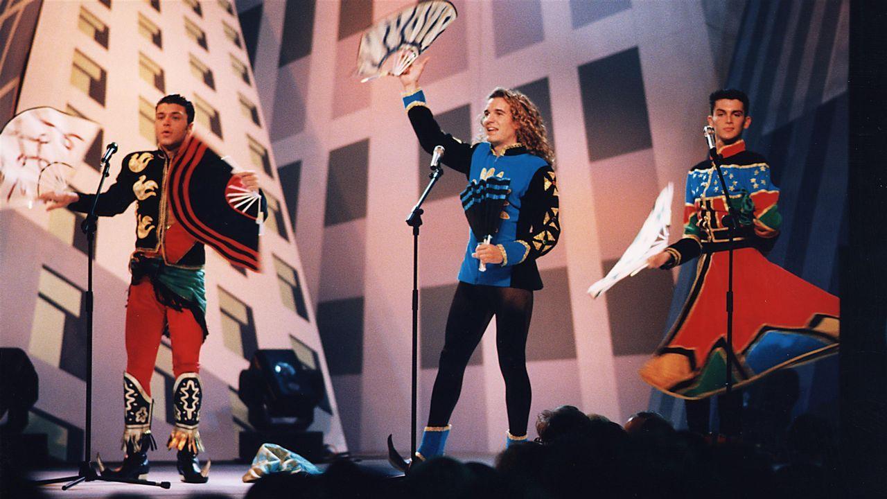 Actuación de Locomía en Santiago, en una imagen de 1994
