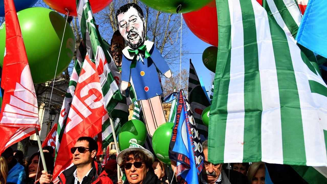 Los tres principales sindicatos de Italia hicieron hoy una demostración de fuerza con una manifestación en Roma