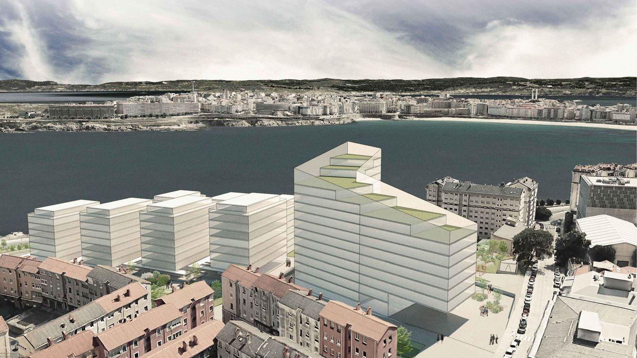 Apertura de Mostrart en Méndez Núñez.Recreación de cómo serán los edificios que se pretenden construir en As Percebeiras