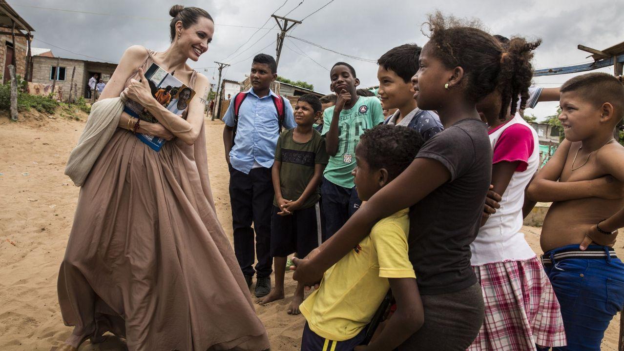 Angelina Jolie con los refugiados venezolanos en Colombia