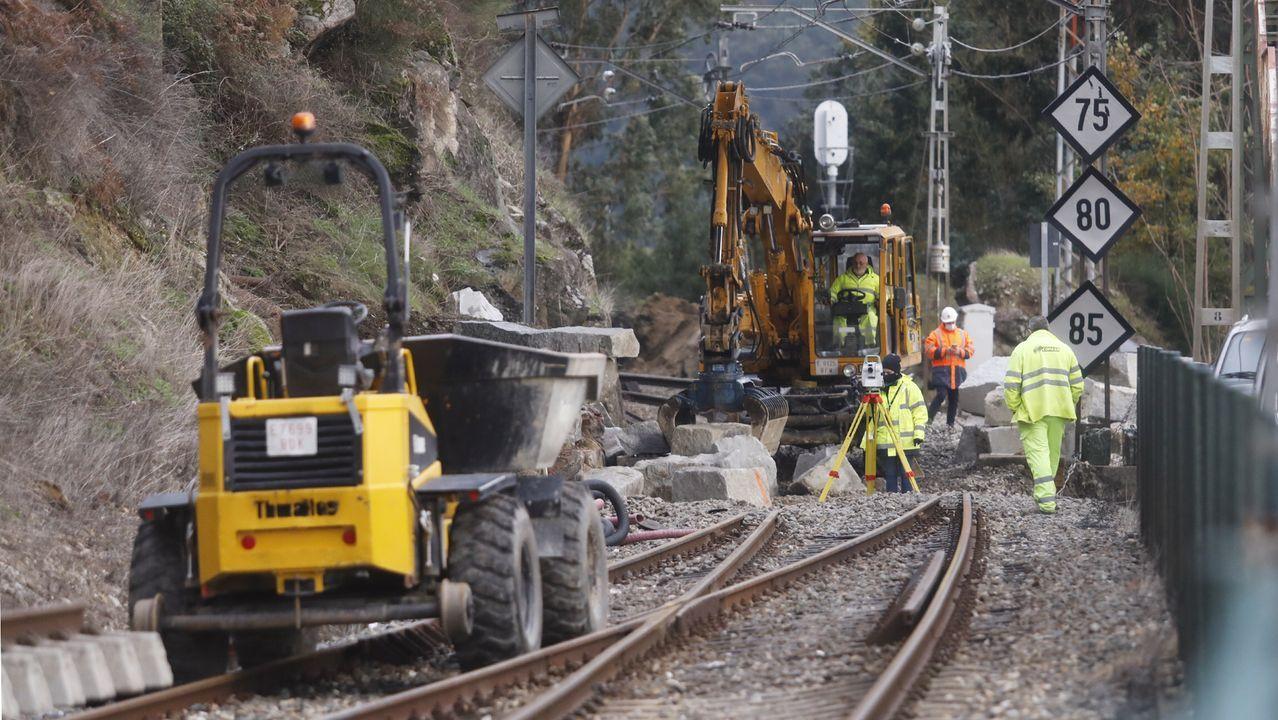 Imagen de los trabajos para reparar el socavón que interrumpe la circulación ferroviaria en Frieira (Crecente)