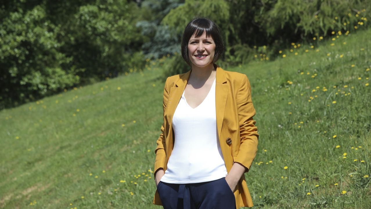 A candidata do BNG Ana Pontón, este luns en Santiago