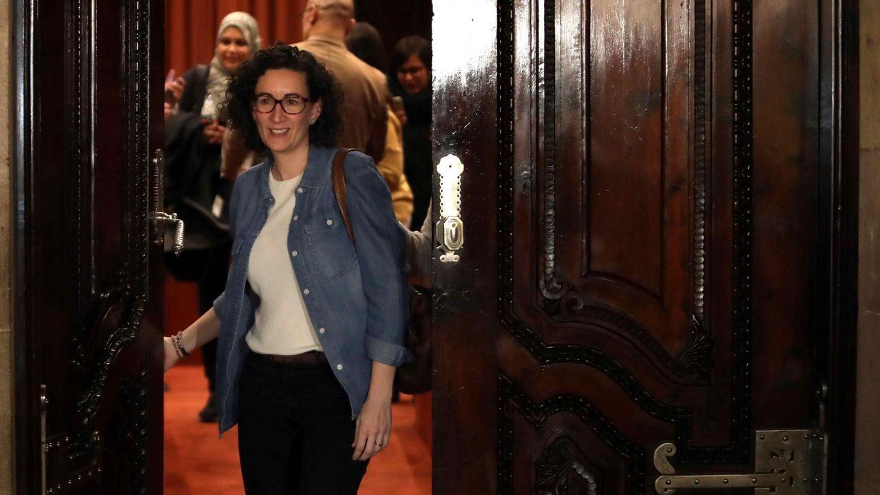 Bronca en el Parlament entre Torrent y Ciudadanos por la DUIS.La líder de ERC, Marta Rovira, sale de una reunión de su grupo parlamentario