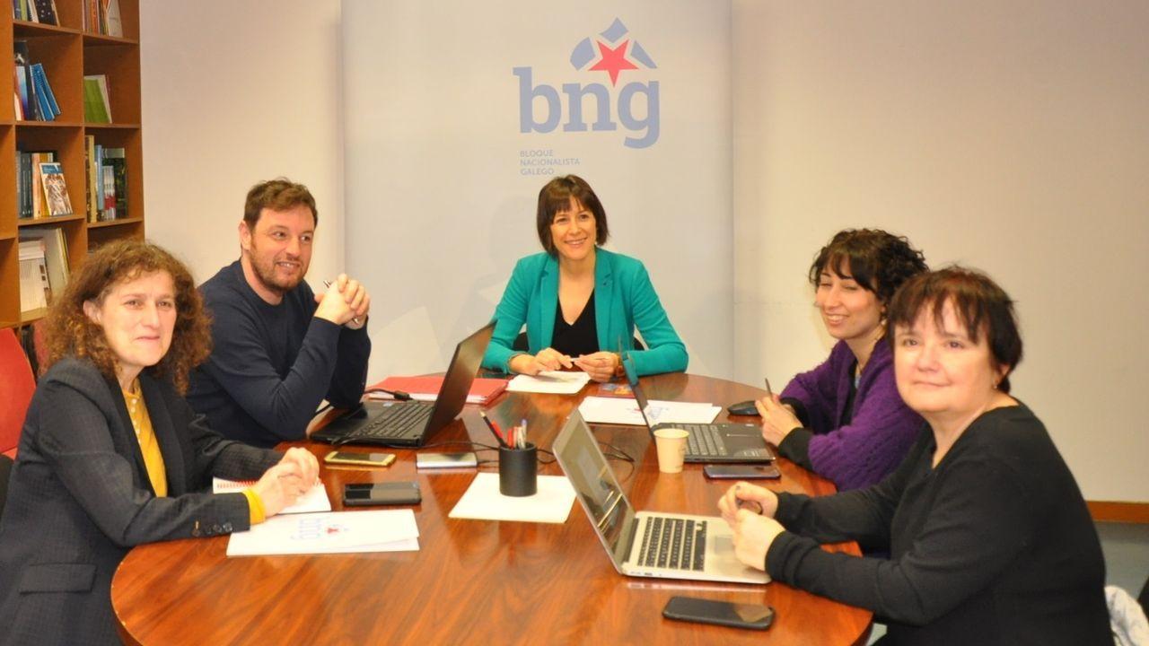 Ana Pontón, candidata del BNG a la presidencia de la Xunta, en una reunión en Santiago con cargos municipales de su partido