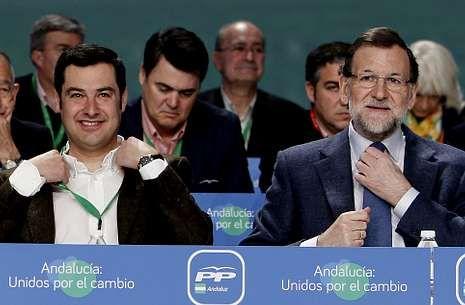 Eva Casanueva sobre Carcaño: «Le deseo lo peor».Mariano Rajoy (derecha), junto al nuevo líder del PP de Andalucía, Juan Manuel Moreno.