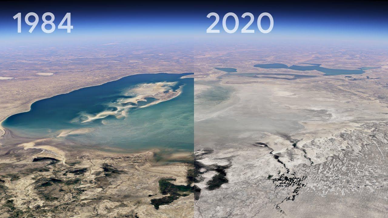Cambios producidos en el Mar de Aral (Kazajistán) entre 1984 y el 2020