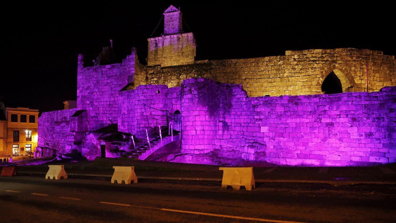 Castillo de los Condes, Ribadavia. Iluminado de morado.