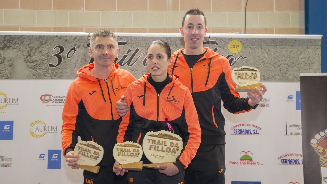 Los tres mejores locales: Lito García (trail corto), Monse Solís (corto) e Iván Romero (trail largo).