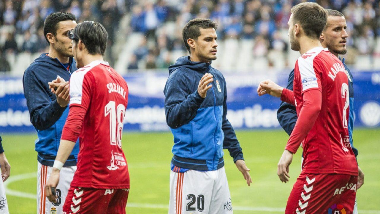Gol Saul Berjon Carlos Hernandez Fabbrini Real Oviedo Nastic Carlos Tartiere.Cotugno antes del Oviedo-Nàstic