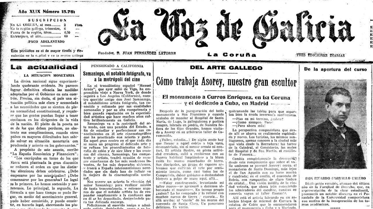 En outubro de 1930, La Voz informou sobre o histórico discurso de Carvalho Calero co que a Universidade de Santiago inaugurou o curso