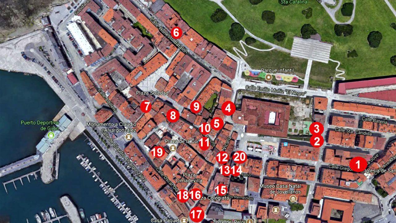 Los Locos esperan sitio en el callejero de Gijón.Mapa elaborado por la Asociación de Vecinos 'Gigia' de CImavilla con los edificios y solares abandonados o problemáticos en el barrio
