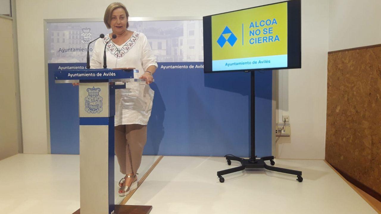 Escape en las baterias de coque de Avilés de Arcelor.La alcaldesa de Avilés, Mariví Monteserín