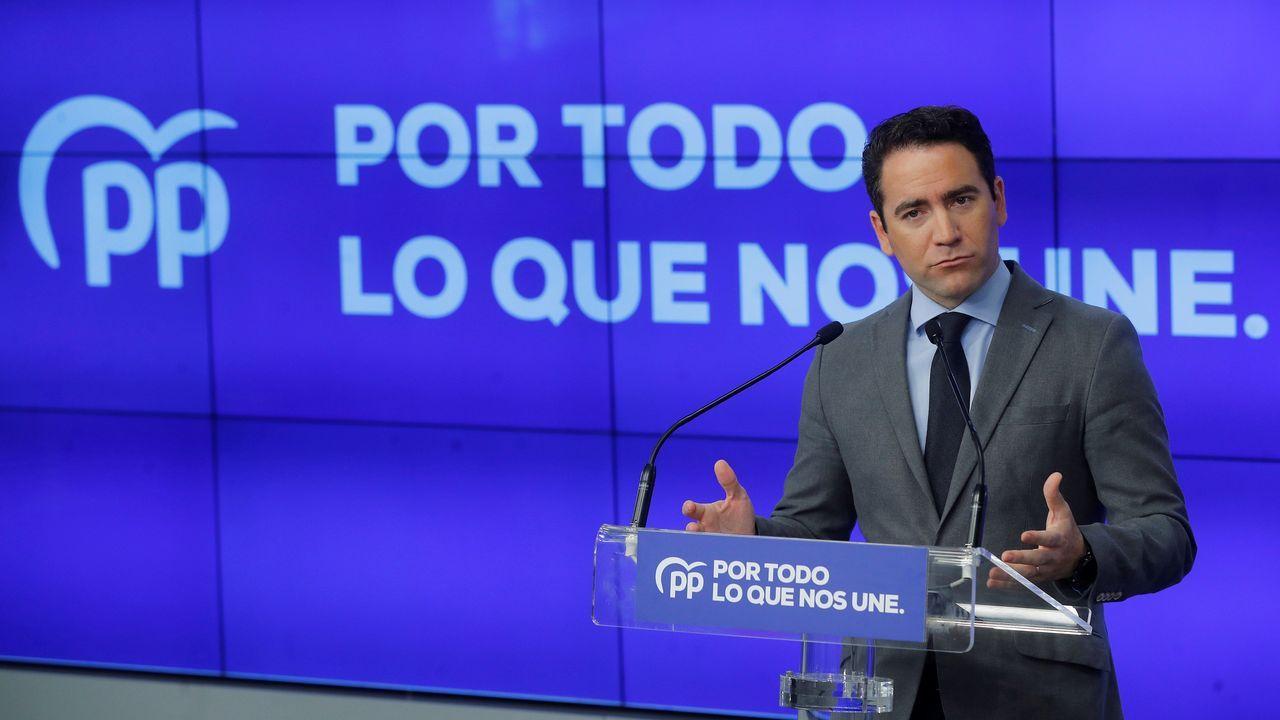 Teodoro García Egea, durante la presentacion del programa electoral del PP