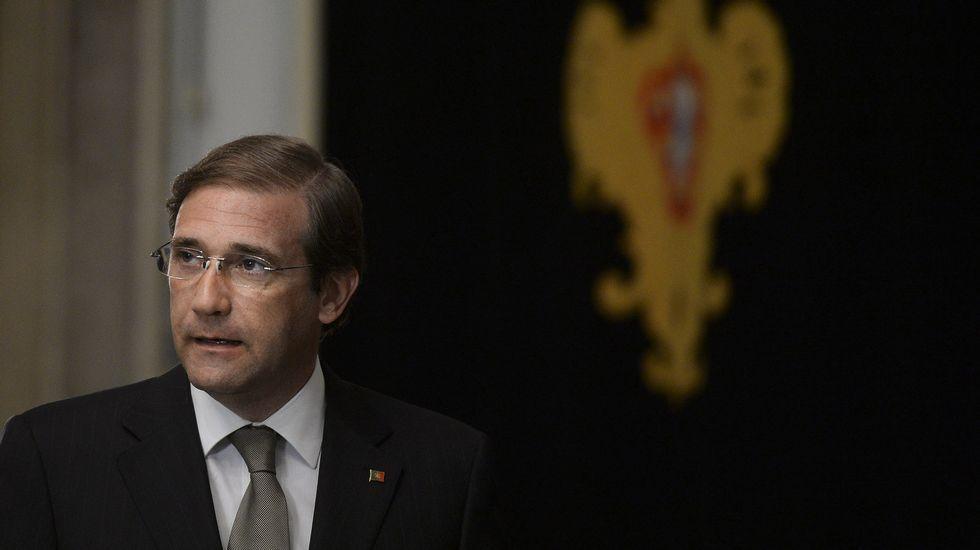 El primer ministro portugués Pedro Passos Coelho. tras su reunión con el presidente portugués Anibal Cavaco Silva