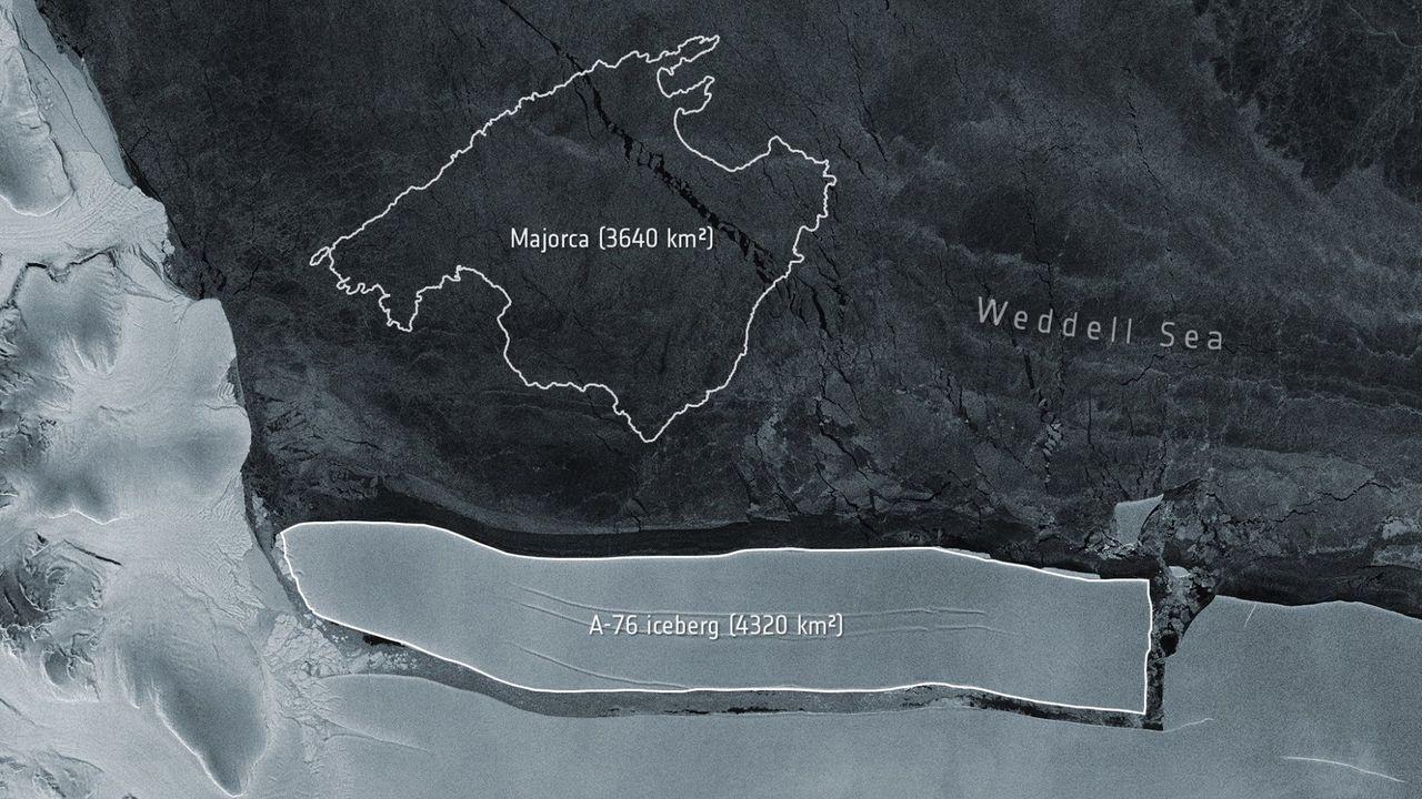 Tamaño del iceberg A-76 desprendido comparado con Mallorca